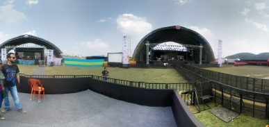We played on the stage on the left